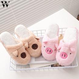 полы Скидка New Lovely Pig loveliness Home Floor Soft Stripe Slippers Female Shoes 36-40 2018