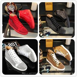Wholesale Womens Louboutin Shoes - Snakeskin Red louboutin Sneakers Luxury Designer High Top Skate Sneakers Mens Womens Casual Shoes Brand New Comfort Wholesale Price 36-46