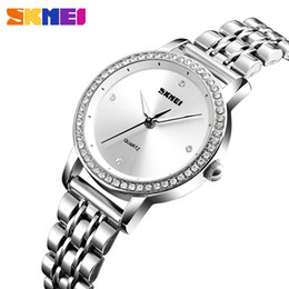 skmei часы из нержавеющей стали Скидка SKMEI Top  Women Watches Quartz Clock Rose Golden Stainless Steel Strap Iced Out Crystal Elegant Ladies Wrist Watch