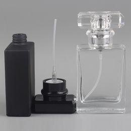 2019 emballage de petites bouteilles de parfum Usine En Gros Rechargeable Petit 30 ml Square Atomiseur Verre Parfum Bouteille 1 OZ Vide Cosmétique Emballage Conteneurs DHL Livraison emballage de petites bouteilles de parfum pas cher