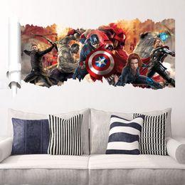 Adesivi da muro di compleanno online-3D film Marvel hero Hulk iron Man Capitano The PVC Decalcomanie Wall Stickers Murale Home Decor bambini ragazzo camera da letto regalo di compleanno