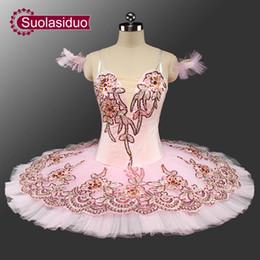 figurinos de ballet clássico Desconto New Pink Classical Ballet Tutu Adulto Panqueca Tutu Ballet Professional Tutus Rosa Bela Adormecida Trajes SD0044