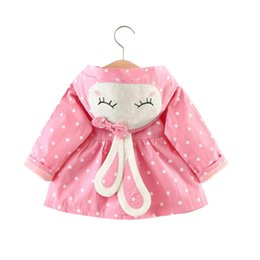 Wholesale rabbit coat for baby - cute baby girl causal trench coat European rabbit ear dot cotton coat for 9-36M girls baby newborn infant outerwear coat clothes