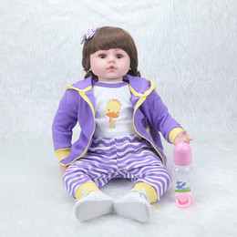 Wholesale Inflatable Doll New - Wholesale- NPKCOLLECTION55cm new simulation baby girl high-grade creative Christmas gift Cute best play toys silicone reborn baby dolls