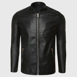 Wholesale Leather Motorcycle Suits - Wholesale- Biker Leather Jacket Men PU Leather Suede Jacket Male Aviator Flight Suit Black Biker Clothing Slim Zipper Motorcycle Punk Style