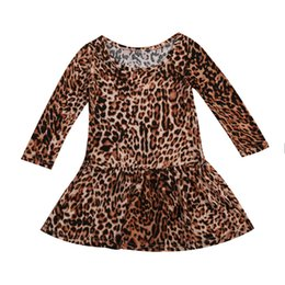 Wholesale Toddlers Evening Dresses - Bohemian Style Toddler Baby Girls Kids Full Leopard Clothes Christmas Evening Party Princess Children Holiday Dress for girls