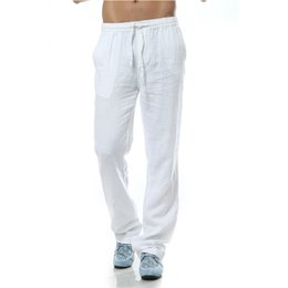 Vestiti di lino sciolti online-Pantalon homme Pantaloni casual da uomo Pantaloni di lino da uomo di marca pantaloni di lino stile loose Abbigliamento da uomo