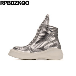 platform thick high heel gold shoes Coupons - Wedge High Heel Thick Soled Boots Shoes Harajuku Men Silver Fur Top Platform Sneakers Big Size Sole Fashion Trainer Ankle Winter