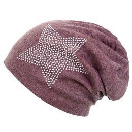 bonnet étoile rouge Promotion Unisexe Hommes Femmes Classique Étoile Strass Slouch Beanie Cap Coton Chapeau Vin Rouge Une Taille