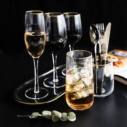 abf9254e6448 2 unids raya de oro patrón de rayas cristal Copa de vidrio Copa de Vino  Champagne Cerveza taza Cóctel bar fiesta en casa boda drinkware