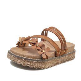 Wholesale High Heel Sandal Wholesale - High Quality Women Fashion Summer PU Leather Sandal Lady Outdoor Casual Platform Heel Open Toe Loafers Flower Bohemia Lace Flat Slipper