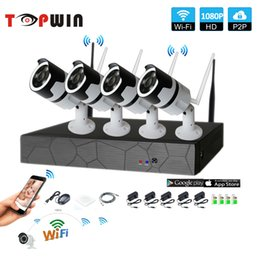 Wholesale night vision camera system - 4CH 1080P HD Wireless NVR Kit P2P 1080P Indoor Outdoor IR Night Vision Security 2.0MP IP Camera WIFI CCTV System