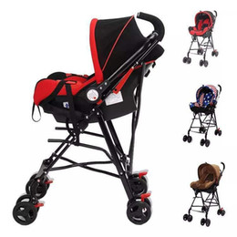 Wholesale car seat lights - Newborn Baby Car Seat Stroller Carts Light Folding Portable With Children's Car Safety Seat Basket Steel Highland Baby Frame