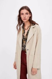 Женщины слоеные пальто онлайн-New arrival women Z0919U11 autumn new products in Europe and the United States long twill big coat pocket # 9033