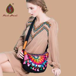 Wholesale Cell Online - Online Hot Bohemia black canvas Hobos bags Ethnic embroidered handmade tassel shell messenger shoulder bags