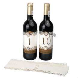 Wholesale rustic wedding table numbers - H&D Ivory Wedding Table Numbers 1-10 Cards Bottle Wraps With Lace Flower Rustic Wedding Table Numbers Vintage Decoration