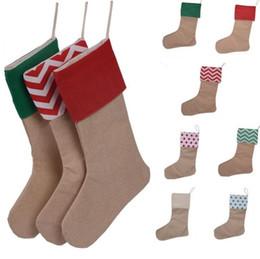 2019 weihnachtskisten ornamente großhandel Neue 12 * 18 Zoll neue hochwertige Leinwand Weihnachtsstrumpf Geschenk Taschen Weihnachten Strumpf Weihnachten dekorative Socken Taschen