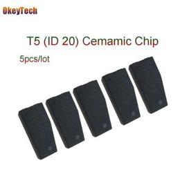 Wholesale OkeyTech unids lote Profesional T5 ID20 Clave de Coche Chip en Blanco de Carbono de Cerámica Original Desbloqueo Transpondedor para Cerrajero Herramienta T5 Chip