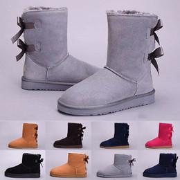 2019 botas de invierno en línea UGG boots Botas de invierno WGG Australia Australia para mujer clásicas Botas de medio tobillo Tobillo Negro Gris castaño azul marino rojo mujer niña botas eur 36-41 botas de invierno en línea baratos