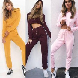 Wholesale Hooded Jumpers - Women Tracksuit Short Hoodies Sweatshirt Pants Sets Sport Wear Casual Sweat Suit Long Sleeve Crop Tops Short Jumper Set LJJO4305