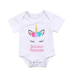Wholesale summer body suit baby boy - Newborn Baby Infant Girls Unicorn Letter Princess White Short Sleeve Romper Body suit Playsuit Clothes Outfit 0-18M Clothing
