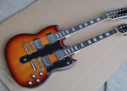 coude électrique à 12 cordes Promotion Guitare électrique à manche double, tabac Sunburst, 6 + 12 cordes, corps et manche en acajou, touche en palissandre, personnalisable