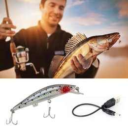 cord life 2018 - Rechargeable Fishing Lures Bait USB Recharging Cords Electric Life-like vibrate fishing Lures LED light Fishing Bait KKA6015