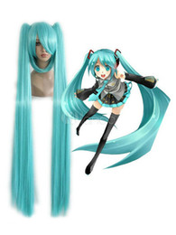 Wholesale cheap blue wigs - Ly & CS cheap sale dance party cosplays>>>Cosplay Miku Light Blue Straight With Two Ponytails Wig 100cm