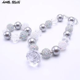 Wholesale Girls Beaded Bracelets - MHS.SUN Grey Color Chunky Necklace&Bracelet Set Fashion Pendant Beads Children Girl Bubblegum Chunky Bead Necklace Jewelry Set
