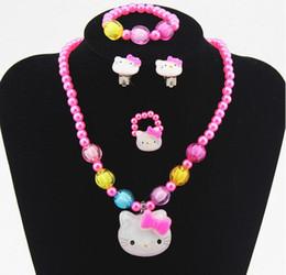 7b1a7fc4b Discount kids jewelry hello kitty whole sale1set Baby Girls Imitation  Pearls princess Beads hello Kitty Cat