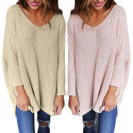 Wholesale Women Loose Fitting Sweaters - Missufe 6 Colors Loose Fit Fashion Casual Women Sweaters 2017 Autumn Winter Long Sleeve V Neck Female Pullover Jumpers