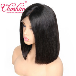 "Wholesale Indian Remy Short Wigs - Choshim Straight Short Bob Wigs 8"" 10"" 12"" 14"" Natural Color Brazilian Remy Hair Lace Front Human Hair Wigs Bob For Black Women"