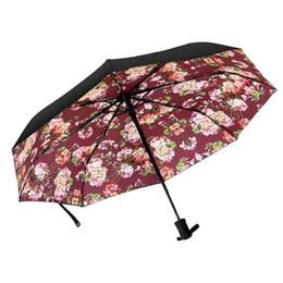 bolsas de paraguas Rebajas Patrón clásico de lujo Carta con estilo insignia clave paraguas automático para mujeres 3 veces paraguas de lujo con gran bolsa paraguas lluvia regalo de la fiesta VIP