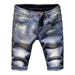 Wholesale Denim Shorts 38 - Shorts Men Ripped Short Jeans Straight Retro Shorts Jean Bermuda Male Denim Brand Clothing Plus Size 28-38