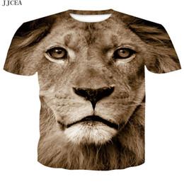 Nouveau sexe animal en Ligne-JJCEA Lion T-shirt Animal T-shirt Sexe Drôle T-shirts Impression 3d Crâne T-shirt Hip Hop Tee Cool Vêtements Pour Hommes 2018 New Summer Top