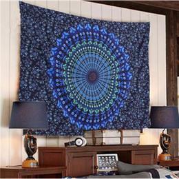 Wholesale Polyester Rectangle Tablecloths - Bohemian Mandala Floral Tapestry Sunscreen Shawl Wrap Picnic Mat Beach Towel Hippie Wall Hanging Pads Tablecloth Yoga Mat 150*130cm AAA46