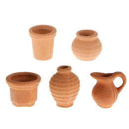 Wholesale Ceramic Flowerpots - New Quality 1 12 Mixed Dollhouse Miniature Ceramic Crocks Flowerpot Pitcher Light Brown Classic Kitchen Toys Gift for Child Kids