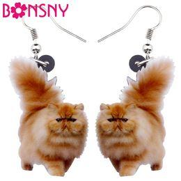Orecchini lunghi di gatto online-Acrilico Fluffy Fatty Cat Kitten Orecchini Big Long Ciondola Goccia Lovely Animal Jewelry For Women Girl Ladies Kids Regali Bulk