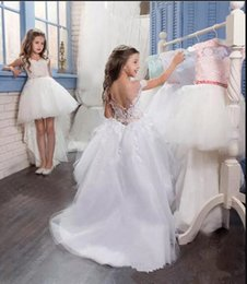 Wholesale Toddler Fur Dresses - Cute High Low Flower Girls Dresses For Weddings Sheer Neck Cap Sleeves Lace Pearls Tulle Backless Toddler Holiday Birthday Party Dresses