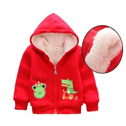 Корейские девушки толстовки онлайн-Корейский Baby Girls Hoodies Бархатные пальто Младенцы Куртки Дети Девочки Верхняя одежда Пальто Флис Осень Зима Baby Зимнее пальто