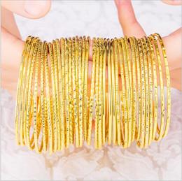 Wholesale More Fine - Han edition closed circle fine 24k bracelet the more spratly gold Bohemian coil bracelet female brass gold plated multi-ring bracelet