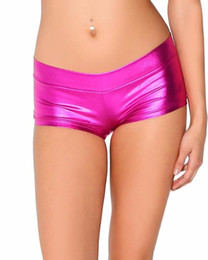 2021 silberne tanzshorts Womens Low Waisted Sexy Lycra Metallic Rave Beute Tanz Shorts Spandex Shiny Pole Dance Shorts Gold Silber Für Bühne