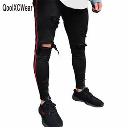 Wholesale Jean Hot Pants - QoolXCWear hot sell men designer jeans black jeans men casual male jean skinny motorcycle high quality denim pants