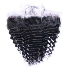 chiusura frontale completa indiana Sconti Capelli malesi Onda 13x4 chiusura frontale in pizzo con capelli per bambini 100% capelli umani