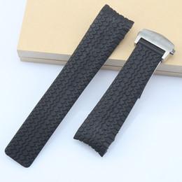 reemplazo del corchete para la venda de reloj de goma Rebajas Reemplazo de pulsera de correa de reloj de caucho de silicona negro de 24 mm para la banda de reloj TAG Heuer Carrera con hebilla de cierre de despliegue negro