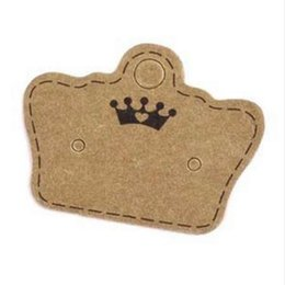 Wholesale Paper Crowns Christmas - 100PCS DIY Kraft Paper Handmade Stud Earring Tag Crown Shape Small Cute Earring Packing Display Tag Card