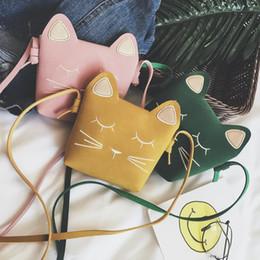 modèle de sac à main enfant Promotion 8 Couleur Filles INS Cat motif PU Sacs 2018 Nouveaux Mode Enfants unique épaule Aslant porte-monnaie Sacs portefeuille B001