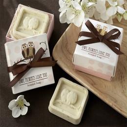 Presentes feitos à mão da coruja on-line-Coruja artesanal Design Bath Soap casamento Valentine Party Love Gift Owl Sabonete # 8