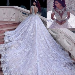 Wholesale Princess Bling Wedding Dresses - Luxury Bling Crystals Princess Wedding Dress 2018 Muslim Wedding Gowns Sexy Illusion Tulle Back Long Sleeve Full Lace Cathedral Bridal Gowns