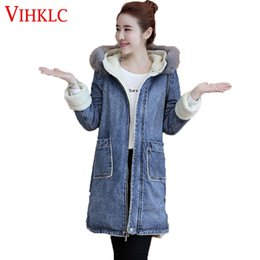 9b8fc0560b5 Women Denim Winter Coat 2018 Casual Loose Print Patchwork Plus Velvet Thick  Outerwear Tops Warm Long Denim Padded Jacket B932 affordable denim jacket  women ...